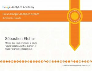 certification google analytics de Sébastien Etchar