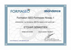 certification référencement naturel SEO de Sébastien ETCHAR