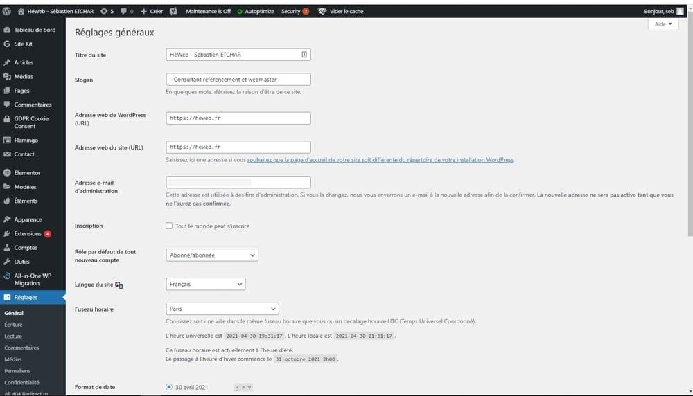 Wordpress back office héweb sébastien etchar